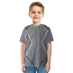 Black And White Line Abstract Kids  Sport Mesh Tee
