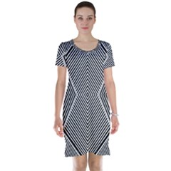 Black And White Line Abstract Short Sleeve Nightdress