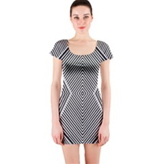 Black And White Line Abstract Short Sleeve Bodycon Dress