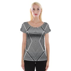 Black And White Line Abstract Women s Cap Sleeve Top