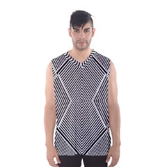 Black And White Line Abstract Men s Basketball Tank Top