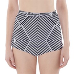 Black And White Line Abstract High-Waisted Bikini Bottoms