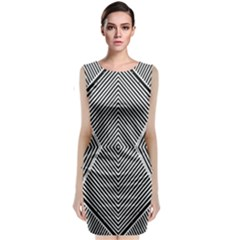 Black And White Line Abstract Classic Sleeveless Midi Dress