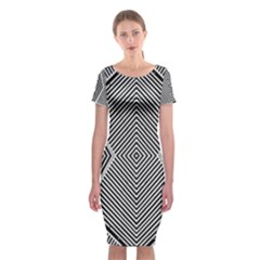 Black And White Line Abstract Classic Short Sleeve Midi Dress