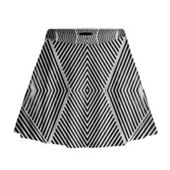 Black And White Line Abstract Mini Flare Skirt