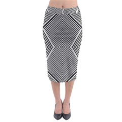 Black And White Line Abstract Midi Pencil Skirt