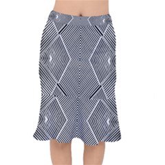 Black And White Line Abstract Mermaid Skirt