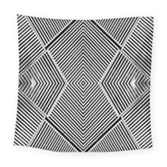 Black And White Line Abstract Square Tapestry (large)