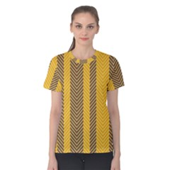 Brown And Orange Herringbone Pattern Wallpaper Background Women s Cotton Tee
