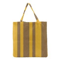 Brown And Orange Herringbone Pattern Wallpaper Background Grocery Tote Bag