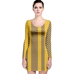 Brown And Orange Herringbone Pattern Wallpaper Background Long Sleeve Velvet Bodycon Dress