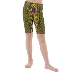 Fractal In Purple And Gold Kids  Mid Length Swim Shorts