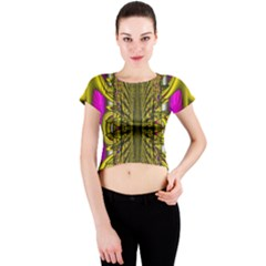 Fractal In Purple And Gold Crew Neck Crop Top