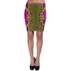 Fractal In Purple And Gold Bodycon Skirt