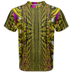 Fractal In Purple And Gold Men s Cotton Tee