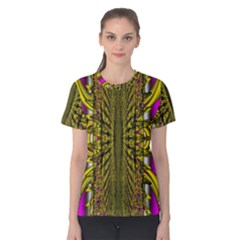 Fractal In Purple And Gold Women s Cotton Tee
