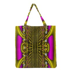 Fractal In Purple And Gold Grocery Tote Bag