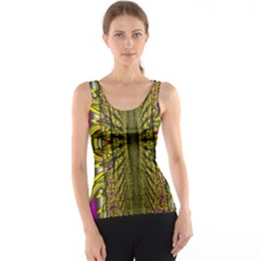 Fractal In Purple And Gold Tank Top