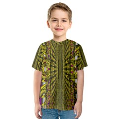 Fractal In Purple And Gold Kids  Sport Mesh Tee