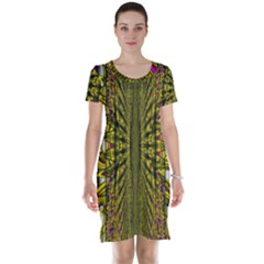 Fractal In Purple And Gold Short Sleeve Nightdress