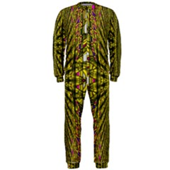 Fractal In Purple And Gold OnePiece Jumpsuit (Men)