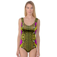 Fractal In Purple And Gold Princess Tank Leotard