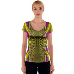 Fractal In Purple And Gold Women s V-Neck Cap Sleeve Top
