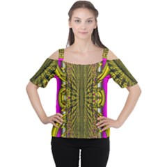 Fractal In Purple And Gold Women s Cutout Shoulder Tee