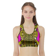 Fractal In Purple And Gold Sports Bra With Border