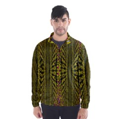 Fractal In Purple And Gold Wind Breaker (men)
