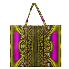 Fractal In Purple And Gold Zipper Large Tote Bag