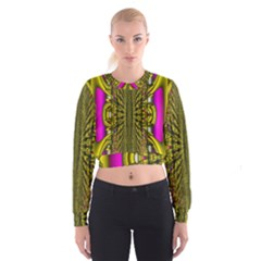 Fractal In Purple And Gold Women s Cropped Sweatshirt