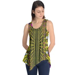 Fractal In Purple And Gold Sleeveless Tunic