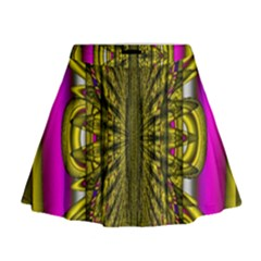 Fractal In Purple And Gold Mini Flare Skirt