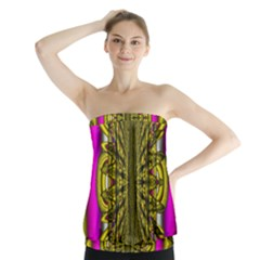 Fractal In Purple And Gold Strapless Top