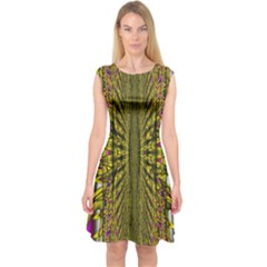 Fractal In Purple And Gold Capsleeve Midi Dress