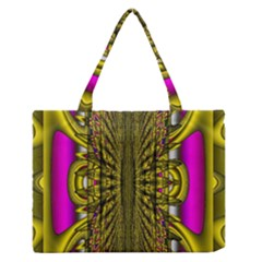 Fractal In Purple And Gold Medium Zipper Tote Bag