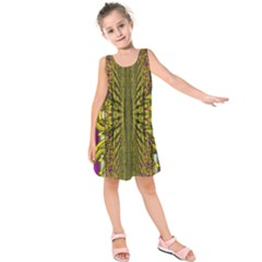 Fractal In Purple And Gold Kids  Sleeveless Dress