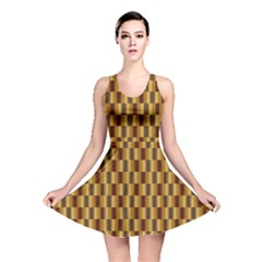 Gold Abstract Wallpaper Background Reversible Skater Dress