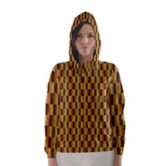 Gold Abstract Wallpaper Background Hooded Wind Breaker (Women)
