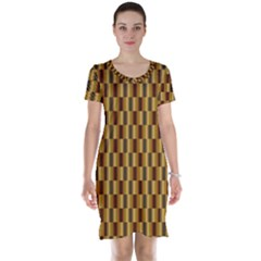 Gold Abstract Wallpaper Background Short Sleeve Nightdress
