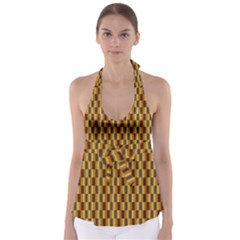 Gold Abstract Wallpaper Background Babydoll Tankini Top