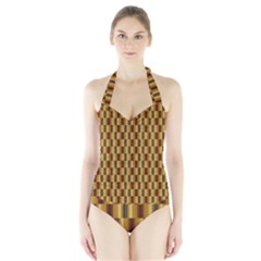 Gold Abstract Wallpaper Background Halter Swimsuit