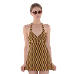 Gold Abstract Wallpaper Background Halter Swimsuit Dress