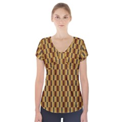 Gold Abstract Wallpaper Background Short Sleeve Front Detail Top