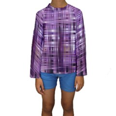 Purple Wave Abstract Background Shades Of Purple Tightly Woven Kids  Long Sleeve Swimwear