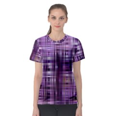 Purple Wave Abstract Background Shades Of Purple Tightly Woven Women s Sport Mesh Tee