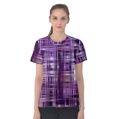 Purple Wave Abstract Background Shades Of Purple Tightly Woven Women s Cotton Tee