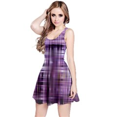 Purple Wave Abstract Background Shades Of Purple Tightly Woven Reversible Sleeveless Dress