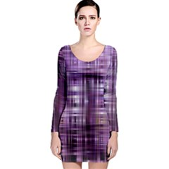 Purple Wave Abstract Background Shades Of Purple Tightly Woven Long Sleeve Bodycon Dress